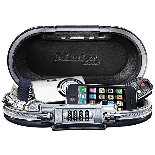 FSYGZJ Schlüsseltresor Kombinationsschloss für die Sicherheit, tragbarer Safe mit Kabel - Sichern Sie Ihre Sachen auf Reisen, Kombinationsschloss Sicherheit Schlüsselsafe,Schwarz