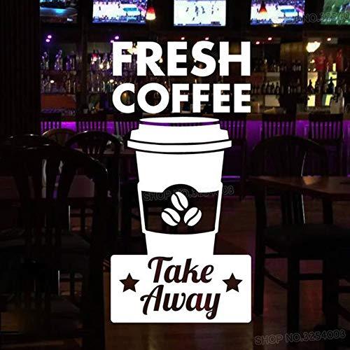Frischer Kaffee & Take Away Aufkleber Für Coffee Shop Zeichen Tasse Restaurant Tür Fenster Dekoration Vinyl Entfernbare Wandaufkleber 56X112 CM (Kaffee-tassen Grüner Berg)