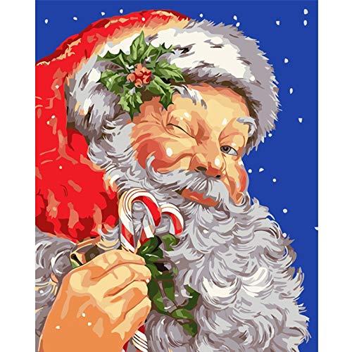 zhxx Malen Nach Zahlen Erwachsene Leinwand Santa Claus Weird.Abbildung Digital Modern Wall Art Painting LeinwandFür Anfänger Mit Rahmen 40X50Cm -