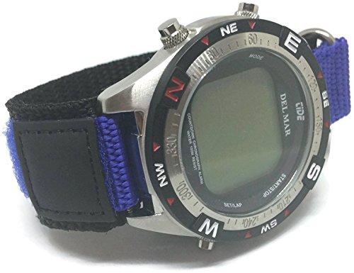 Correa de reloj de velcro azul y negro con anillo de acero inoxidable 18mm