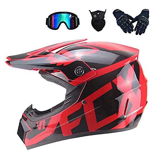 GG-helmet Motorrad-Crosshelm für Frauen, Motocross-Helm-Set (4-teilig) mit Schutzbrillen-Handschuhmaske, Vollgesichts-Mountainbike-Helm Motorrad-Offroad-Sturzhelm, 2 (Fox Kopf Maske)