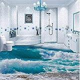Fushoulu Pvc Selbstklebende Wasserdichte 3D Bodenfliesen Tapete Moderne Meerwasser Meer Welle Fototapeten Badezimmer Schlafzimmer Tapeten Aufkleber-120X100Cm
