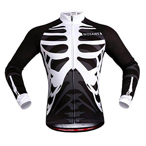 MagiDeal Unisex Atmungsaktiv Jersey Schnell Trockend Radfahren Radtrikot Fahrradtrikot - Schwarz mit Weiß, XXL