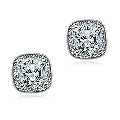 18K White Gold Plated AAA Square Cubic Zirconia Cushion Shape Halo Stud Earrings With Silver Post