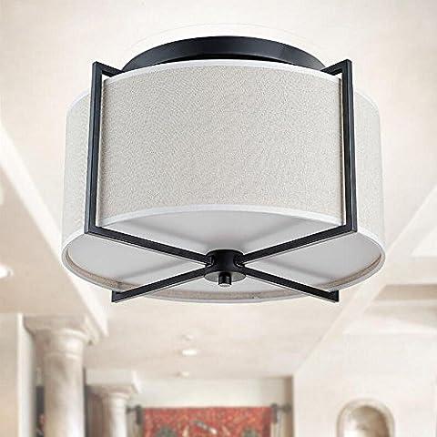 Modern Round Ceiling Light White Linen Cloth Lampshade Black Wrought Iron Fixture Ceiling Lamp for Bedroom Living Room Flush Mount Lighting,D45*H32CM,5*E27*40W