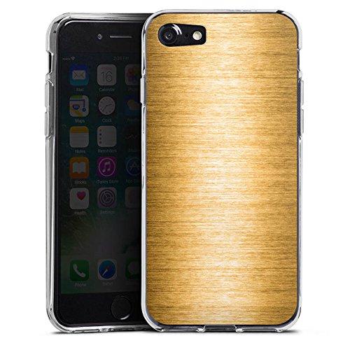 Apple iPhone X Silikon Hülle Case Schutzhülle Metall Look Gold Metal Silikon Case transparent