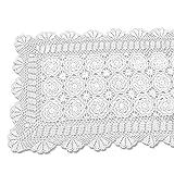 tidetex handgemachte vintage Crochet Spitze Tischdecke 100% Baumwolle Tisch, rechteckig, Bezug Hollow Out tischeindeckung Deckchen Floral Tischläufer, baumwolle, weiß, 50cmx60cm