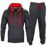 Tuta da uomo, per jogging, fitness, palestra, felpa con cappuccio, slim fit Anthrazit Rot M
