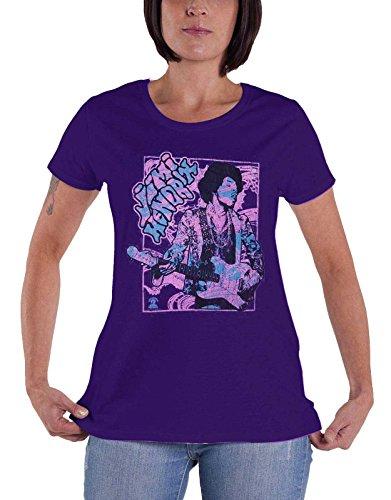 offiziell Jimi Hendrix T Shirt Groove Montage Damen Skinny Fit Distressed Purple -