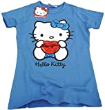 Hello Kitty Kinder T-Shirt 1/2 Arm Mädchen mit Pailletten blau (140/146)