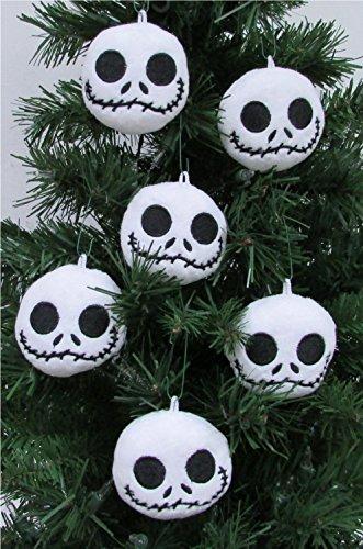 Disney Nightmare Before Christmas Plush Ornament Set Featuring 6 Jack Skellington Christmas Tree Plush Ornaments - Average 2.5