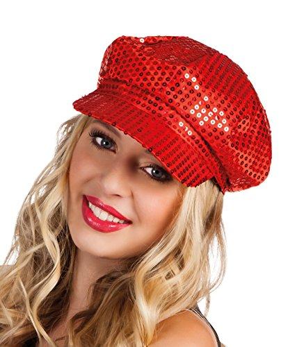 Boland 01204 - Pailletten-Mütze für Erwachsene, Einheitsgröߟe, rot