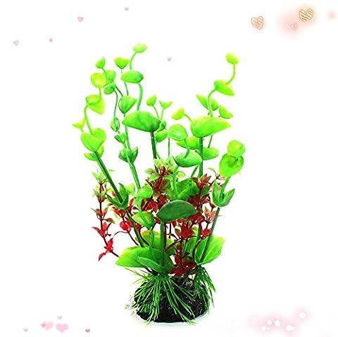 Suunhh Plastique Herbe Tank Aquarium Tortue Réservoir Paysage Décoration plantes, feuilles d'herbe