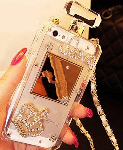 iphone7Fall, iphone7Diamant Parfüm Flasche Fall, goodaa Elegante Diamant Parfüm Flasche Kristall Strass Krone Schutzhülle für iphone7mit gratis String (schwarz), Samsung Galaxy S7 Edge, farblos