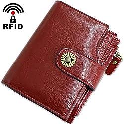Cartera Mujer Cuero Autentico con Bloqueo RFID Billetera Mujer Piel Pequeña con Cremallera, Carteras con Monedero para Mujeres con 18 Tarjetas y Billetes, Billeteros de Mujer Piel Pequeño (Rojo1)