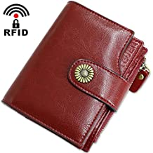 b90b80204c16c Geldbörse Damen Viele Fächer Kleine Echtleder Damen Portemonnaie mit  Reißverschluss