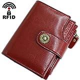Geldbörse Damen Viele Fächer Kleine Echtleder Damen Portemonnaie mit Reißverschluss, RFID Schutz Damengeldbeutel Leder mit Münzfach und 12 Kartenfächer Portmonee Frauen Brieftasche Klein (Rot1)