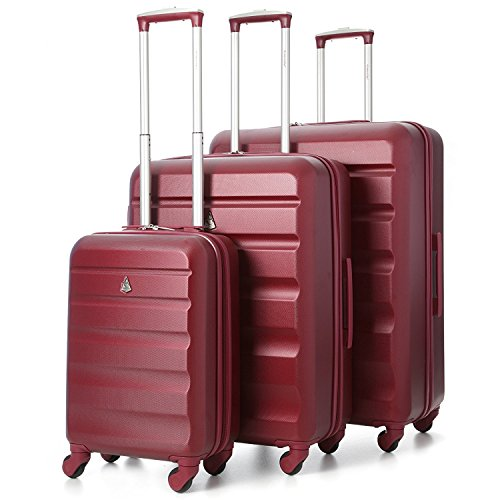 Aerolite Super Lightweight ABS Hard Shell Travel Suitcase Luggage Set with 4 Wheels (Cabin + Large, Wine)