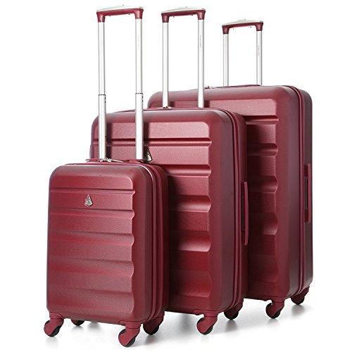 Aerolite - Set di 3 Trolley in ABS - Valigie rigide e leggere con 4 ruote - 55cm Bagaglio a mano + Bagaglio medio 69cm + bagaglio grande 79cm - Vino