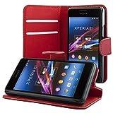 ECENCE Sony Xperia E1 Cartera Funda Wallet Case Cover + protector de pantalla incluido rojo oscuro 41040203