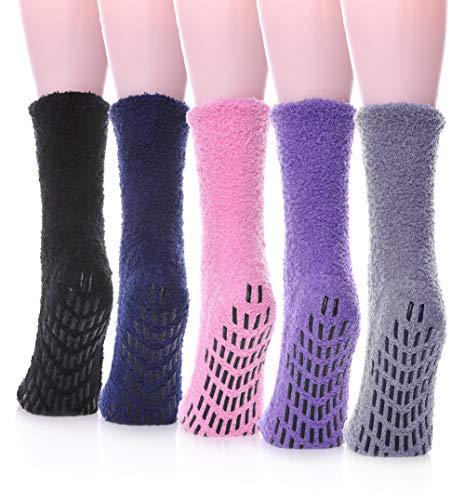 LANLEO Damen 5 pairssuper weich-fuzzy-plüsch-warmer winter home schlafen slipper socken einheitsgröße 5 paar non skid solid farbe -