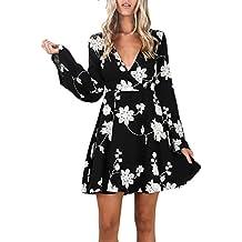 Vestito Donna Elegante Corto Vintage Stampato Floreale Linea Ad A Abiti  Manica Chic Ragazza Lunga V 43366ea2397