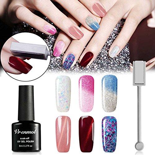 Vrenmol - Esmalte uñas gel purpurina diamante, cambio