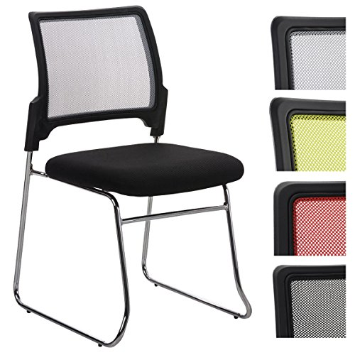 CLP Stapel-Stuhl / Beuscherstuhl KANTON, gepolstert, mit Netzbezug grau