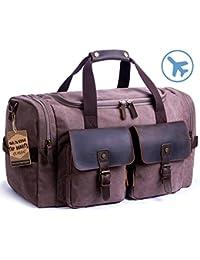 In pelle borsone borsa viaggio week-end borsa tote borsone bagaglio (Cioccolato) 2a7a5febefd