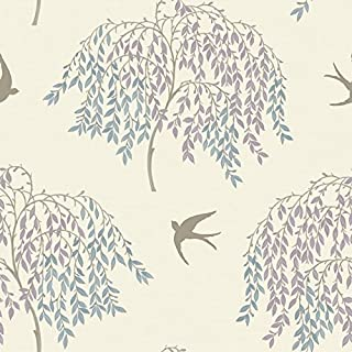 Arthouse 664701 Willow Song Wallpaper, Duck Egg/Heather, 53 cm x 10.05 m