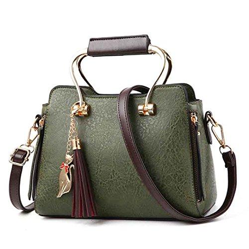 Frauen Handtasche Ledertaschen Großhandel Handtasche Schultertasche Messenger Einfache Quaste Classic Green 24x17x12cm