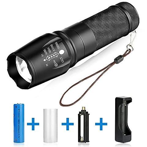 BAKTH Super Helle CREE XML T6 LED Taschenlampe, Einstellbarem Fokus, Wasserdicht Zoombar Taschenlampen, Mit Ladegerät und