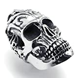 AMDXD Bijoux Acier Inoxydable Bague de Mariage pour Hommes Argent Noir Crâne Forme 55MM,Taille 59