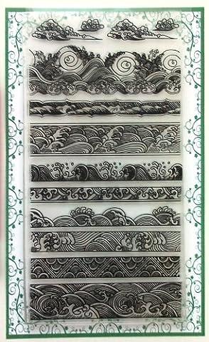 Ocean Waves Borders Clear Stamps Set (4x7) Chinese Japan Vintage