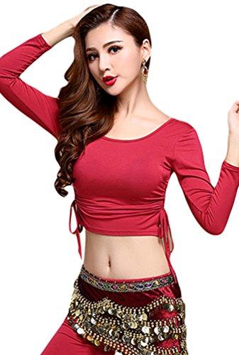 YiJee Damen Bauchtanz Tops Shirt Bandage Belly Dance Kostüm Rot 1 ()