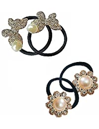 15c1db686 My E Shop Crystal Rhinestone with Pearl Flowers Shape Silver Stone Hair  Accessories for Women (