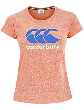Canterbury CCC de las mujeres Logo camiseta, mujer, color Fluorescent Coral, tamaño 8