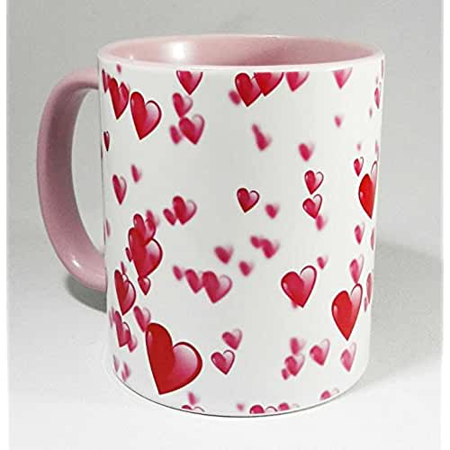 taza del dia de la madre Pink Painted Hearts Design Mug with pink glazed handle and inner