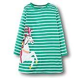 OHBABYKA Little Girls Cute Casual Baumwolle Tiere gedruckt Streifen Langarm Playwear Kleid (Green Horse, 6T)