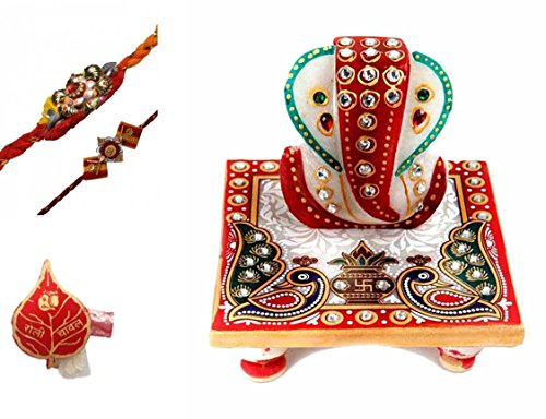 Purpledip Traditional Rakhi Hamper For Brother: Marble Chowki Ganesha, Set Of 2 Rakhi & Pack Of Roli Chawal In Auspicious Red Paan Packing (rakhi1a)