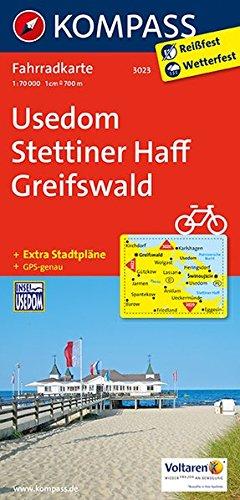 Carta cicloturistica n. 3023. Usedom, Stettiner Haff, Greifswald 1:70.000. Adatto a GPS. Digital map. DVD-ROM: Fietskaart 1:70 000 por Kompass-Karten