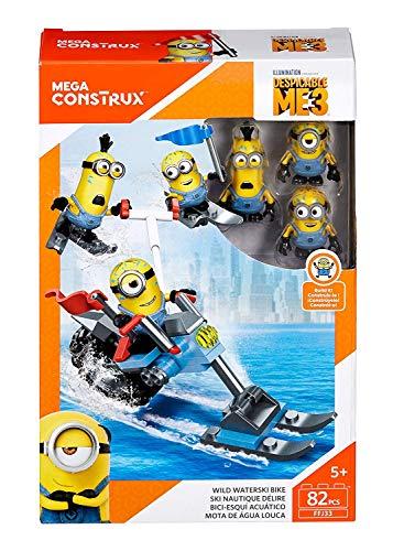 Mattel Minions- Mega Bloks-Verrücktes Wasserski Motorrad – Minions Konstruktionsspielzeug zum Zusammenbauen – tolles Spielzeug Geschenk zum Geburstag oder zu Weihnachten – M02