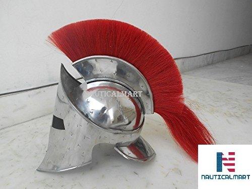 n Armour Kostüm Mittelalter Roman Spartan Helm mit Rot Plume ()