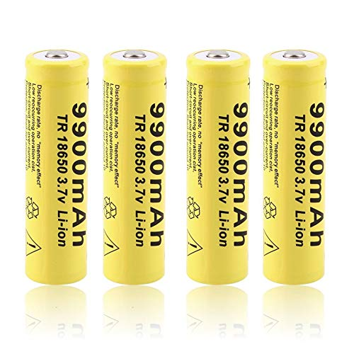 4PCS Yellow Shell GIF 18650 3.7V 9900mAh Capacity Rechargeable Li-ion Battery for LED Flashlight Torch Power Bank