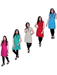 Kurti Thari Choice Women Multi Coloured Sleeveless Cotton Printed Kurti Pack Of 5 For Women And Girls