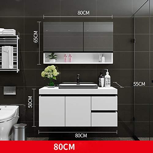 SNOLEK Massivholz Badezimmerschrank Kombination modernen minimalistischen 80 cm + Spiegelschrank 80