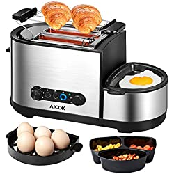 Aicok Grille Pain, 4 en 1 Multifonction Grille Pains Inox avec Mini Poêle à Frire, Cuiseur à œufs, Cuiseur Vapeurs, 2 Fentes Extra-Larges, 7 Niveaux de Brunissage, Sans BPA, 1250W, Argent