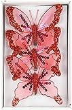 Deko Schmetterling mit Clip 3 Stück rot