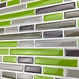 Art3d 10-Pieces Kitchen Backsplash Peel and Stick Tile, Green Brick Design