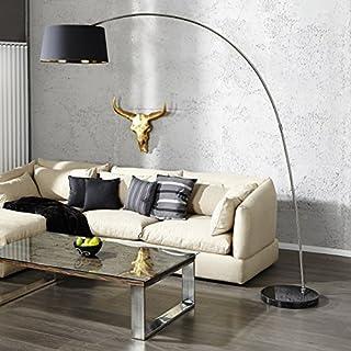 Bogenleuchte Bogenlampe CHAPLIN 215cm Schwarz Gold Marmor Chrom Design - Designer Lampe von ambientica